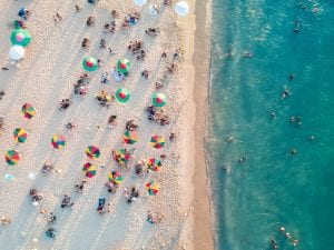 Aerial view of people on beach in Brazil