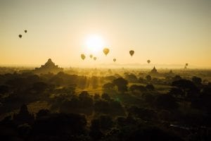 Hot air Balloons over Bagan Myanmar