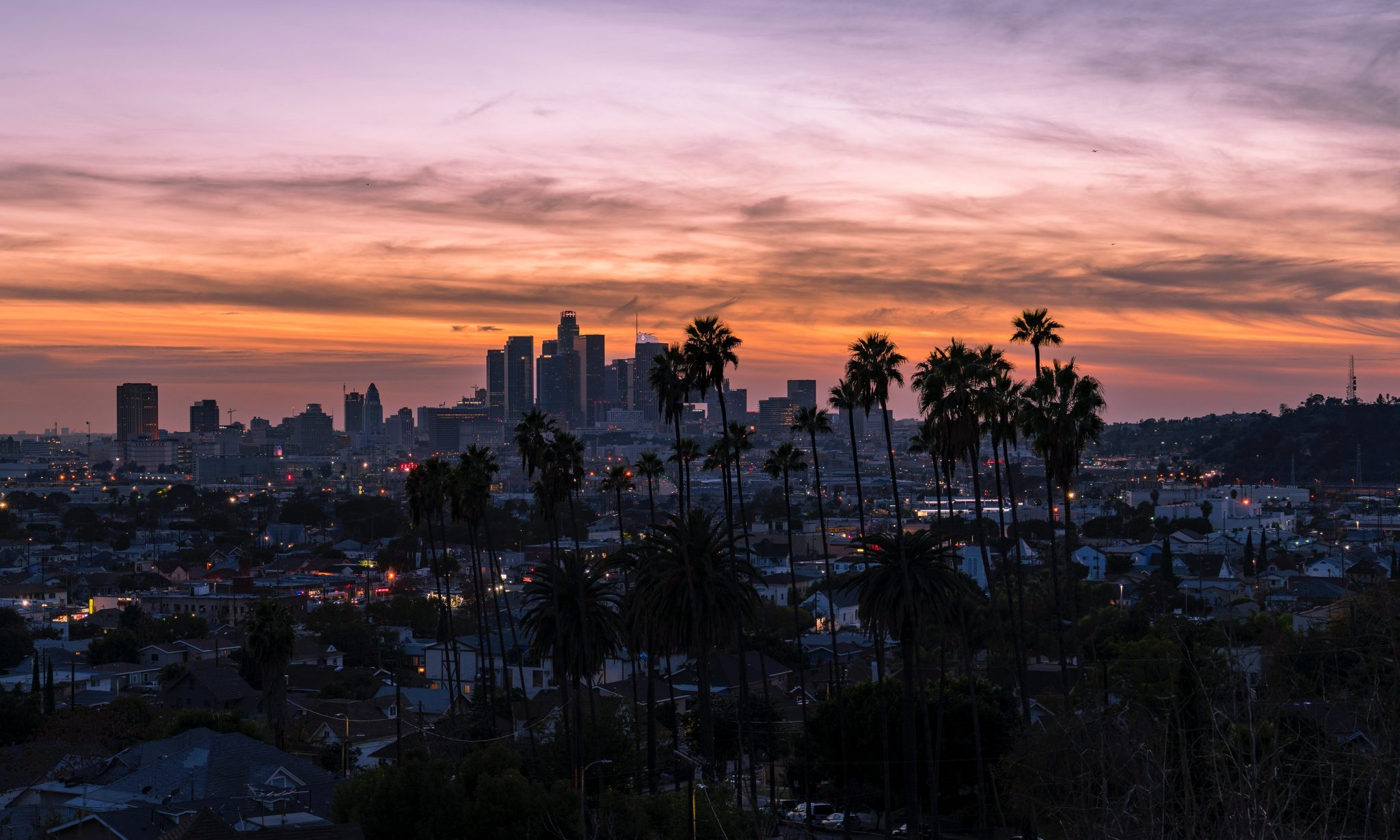 Los Angeles California at sunset
